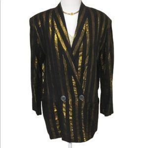 ILGWU Decouve Black & Gold Striped Blazer XS